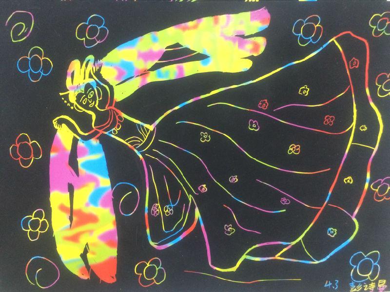 四年级 飞天 主题刮画作品欣赏